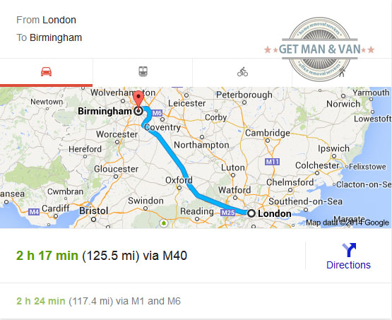 Removals to Birmingham from London